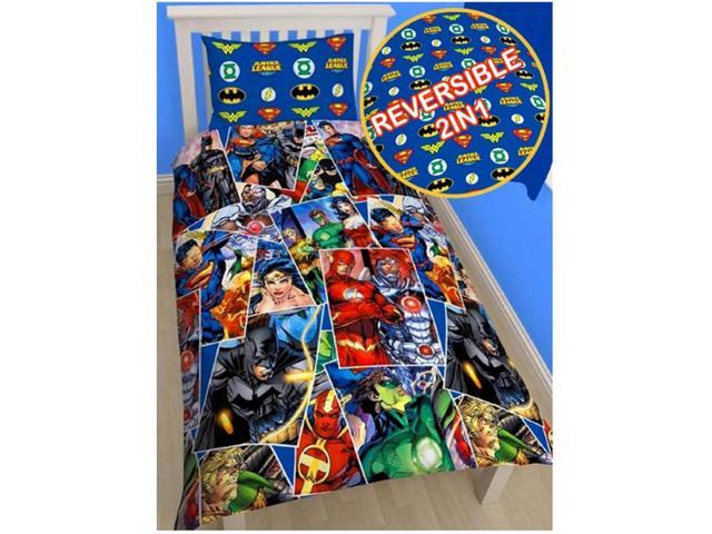 Justice League Invincible 2 Piece UK Single/US Twin Sheet Set – 1 x Double Sided Sheet & 1 x Pillowcase