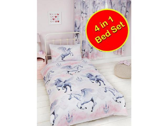 Stardust Unicorn 4 in 1 UK Junior/US Toddler Bedding Bundle (Duvet, Pillow, Sheet)