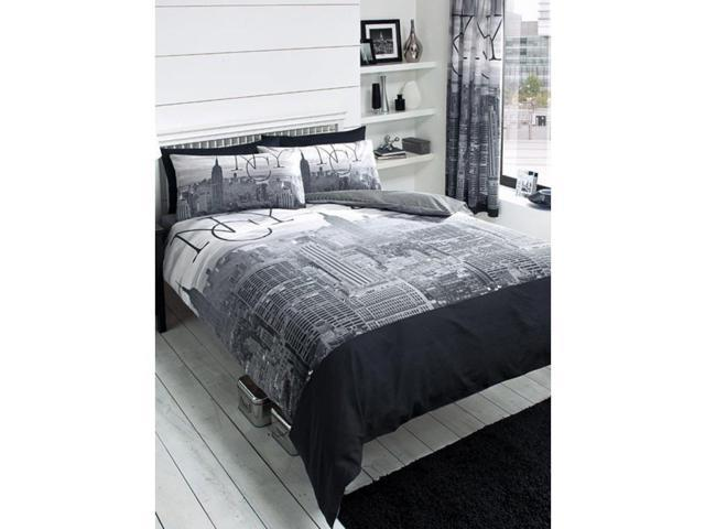 New York City Black 2 Piece UK King/US Queen Sheet Set x1 Double Sided Sheet & 2 x Pillowcases