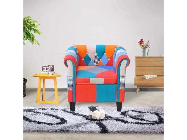 Cloud Mountain Multi color Armchair Patchwork Classic Tufted