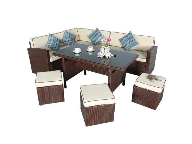 Cloud Mountain 7 PC Wicker Rattan Dining Set Garden Lawn Conversation Furniture  Set Sofa Cushioned Seat