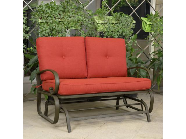 Cloud Mountain Outdoor Furniture 2 Person Loveseat Patio Lounge Glider  Bench Rocking Chair,Brick Red