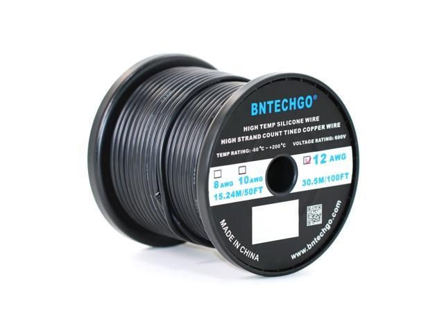 BNTECHGO® 12 Gauge Silicone Wire 100 Feet Black Spool Soft and ...