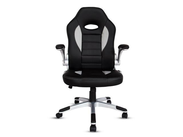 Kinbor PU Leather Executive Racing Style Bucket Seat Chair Home Office  Swivel Desk Chair