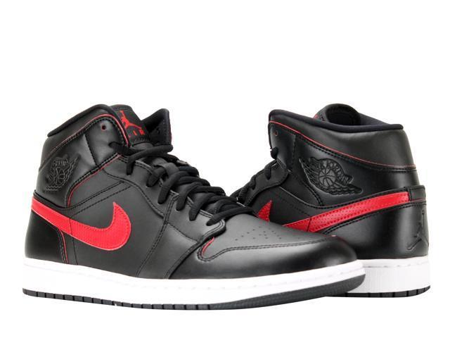 Nike Air Jordan 1 Mid Black/Team Red-White Men's Basketball Shoes 554724-