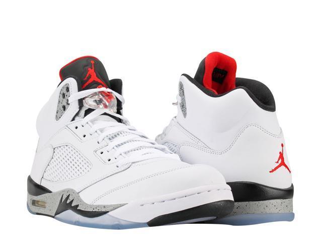 Nike Air Jordan 5 Retro White/Red-Black Cement Men's Basketball Shoes  136027-