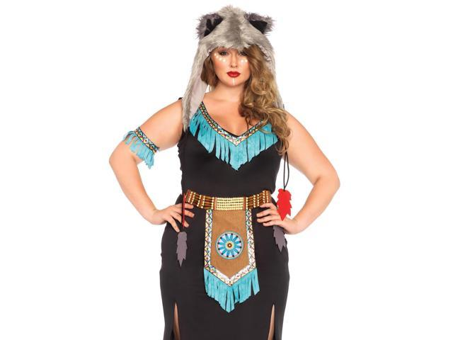 Queen Wolf Warrior Costume Leg Avenue 85385X Black/Turquoise 3X/4X