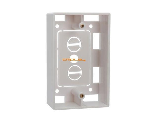 Cmple Surface Mount Junction Box for Single Gang Wall Plates - White