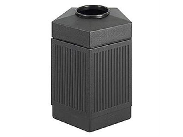 Safco Indoor/Outdoor Pentagon Shape Receptacle, Black - SAF9486BL