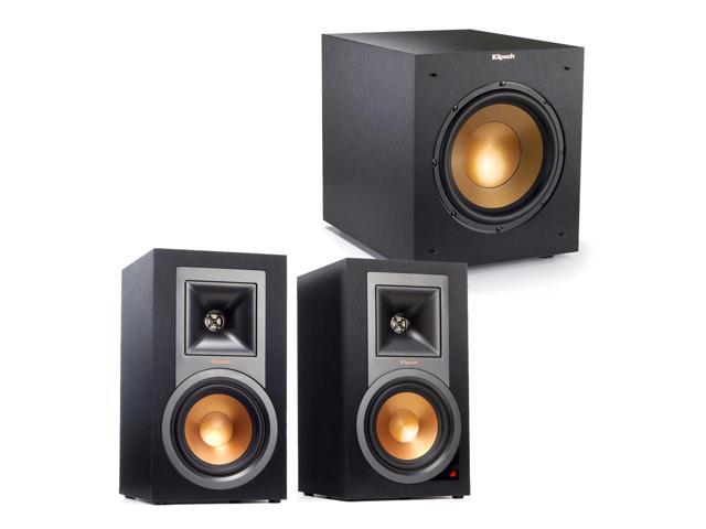 klipsch powered speakers. klipsch 2.1 r-15pm reference powered bluetooth monitor speaker package with r-10swi 10 speakers