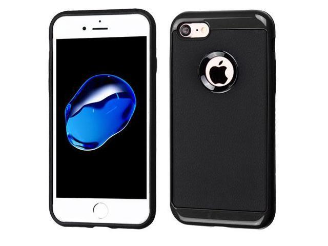 For iPhone 7 / 8 Black Frame/Black Leather Texture Hybrid Protector Cover Case
