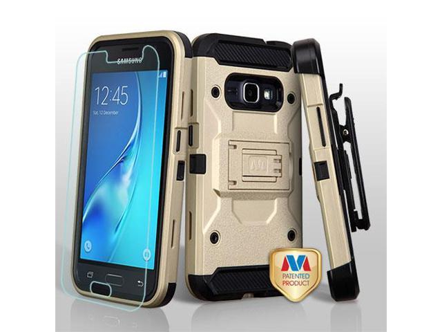 For Samsung Galaxy Express 3/J1 Gold/Black 3-in-1 Protector Cover w/Holster