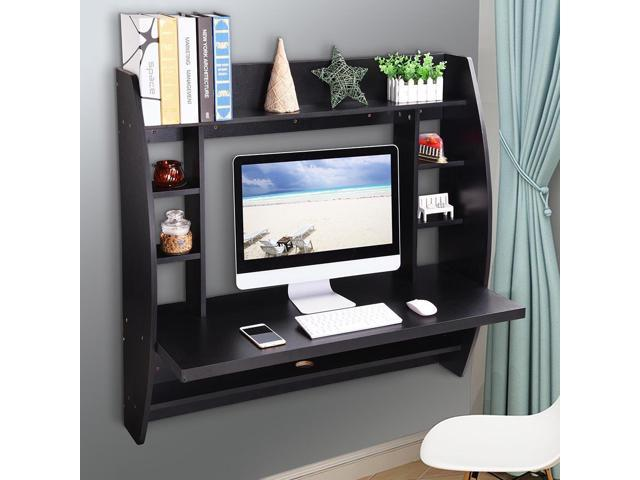 Wall Mounted Floating Computer Desk With Storage Shelves Laptop Home Office  Furniture For Work Black
