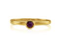 Round Cut Natural Amethyst Gemstone 10K Solid Yellow Gold Ring 0.11 Ct Women's Jewelry