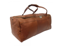 Piel Leather 9712 Traveler'S Select Large Duffel Bag- Saddle