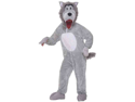 WMU 1182332 Plush Wolf Grey Mascot Jumpsuit - One Size