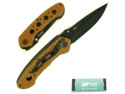 WMU Leather Handle Folding Pocket Knife - 8 inches lon