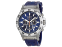 Invicta Signature II Chronograph Blue Dial Steel Blue Rubber Mens Watch 7443