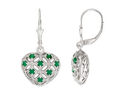 3/4 Carat Emerald and Sterling Silver Earrings