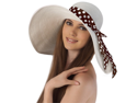 Luxury Lane Women's White Floppy Sun Hat with Polka Dot Ribbon