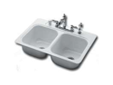 Bootz Plbg Fixtures Inc 031-2901-00 Double Bowl Sink Steel 33-inch x 22-inch x 9