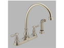 Delta 2457-SS Orleans Stainless Two Handle Kitchen Faucet with Spray