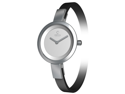 Obaku Women's V129LCIRB-N Black Leather Quartz Watch with Silver Dial