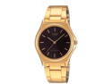Casio Men's MTP1130N-1A Gold Stainless-Steel Quartz Watch with Black Dial
