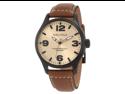 Nautica Men's N13616G Brown Crocodile Leather Quartz Watch with Beige Dial