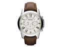 Fossil FS4735 Men's Grant Brown Leather Quartz Watch with White Dial