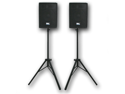 "Seismic Audio - Pair of 10"" PA Speakers with two tripod speaker stands"