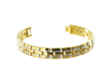 "14mm Wide Gold Tone Link Mens Magnetic Bracelet 8"" Long with Fold Over Clasp"