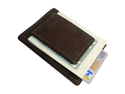 MWmed910RBR Magnetic Money Clip Card Holder Leather Brown Wallet