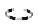 Sterling Silver 8mm Wide Black Onyx and Chinese Letters Tranquility Link in 7.5 inch Long Bracelet Box with tongue Clasp