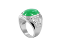 Oval 19 x 14mm Green Jade Silver Plated on Copper Band Mens Ring Size 8