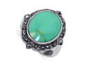 Sterling Silver Oval 20mm x 24mm Reconstituted Turquoise Inlay Marcasite Band Polish Finish Ring Size 6