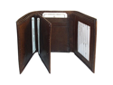 """Mens Leather TriFold 7 Credit Card Holder 4"""" x 3.5"""" Brown Wallet"""