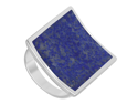 Sterling Silver 19mm Square Blue Lapis Gemstone 4mm Band Ring Size 6