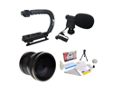 Extreme Shooters Kit Featuring Opteka HD .20x Professional Super Fisheye Lens, Opteka X-GRIP Professional Camera Handle, Opteka VM-8 Mini-Shotgun Microphone and More for Canon EOS Digital SLR Cameras