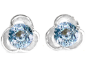 1.50 cttw Original Star K(TM) Round Simulated Aquamarine Flower Earring Studs