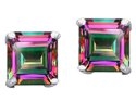 3.00 cttw Original Star K(TM) Square 7mm Genuine Mystic Topaz Earring Studs