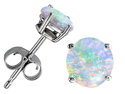 Original Star K(TM) Round 7mm Simulated Opal Earrings Studs