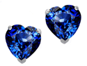 Star K 3.00 Ct. TW. Heart Shaped 7mm Created Sapphire Earring Studs
