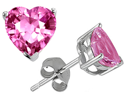 Star K 7mm x 7mm Heart Shaped Created Pink Sapphire in Sterling Silver Earring Studs