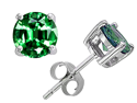 Original Star K(TM) Round 7mm Simulated Emerald Earrings Studs