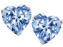 Star K 3.00 Ct. TW. 7mm Heart Shaped Created Aquamarine Solitaire Stud Earring