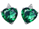2.70 cttw Original Star K(TM) Heart Shape 7mm Simulated Emerald Earrings