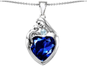 Original Star K(TM) Large Loving Mother With Child Family Pendant With 12mm Heart Created Sapphire