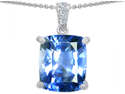 Original Star K(TM) Large 12x10 Cushion Cut Simulated Aquamarine Designer Pendant