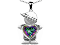 Original Star K(TM) Boy Holding 8mm Mother Heart Birthstone Pendant with Rainbow Mystic Topaz
